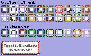 Pokémon GBA Menu Frames