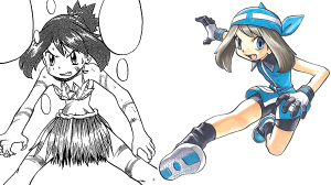 In Pokémon Special (Adventures), Sapphire first appears as a girl living in the wilderness, but soon wears a blue variant on the familiar heroine's outfit from Pokémon Ruby and Sapphire. Did she take a step forward or a step back?